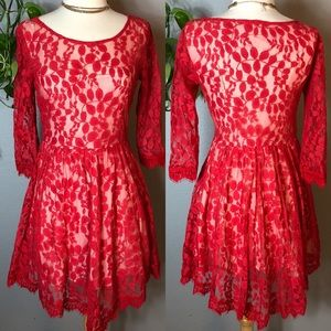 Free People Dresses - Free People Red Floral Lace Dress